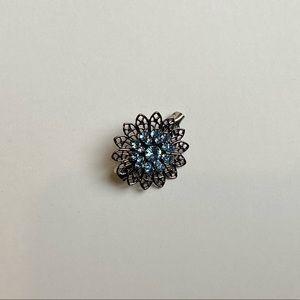 Vintage style antique silver crystal flower brooch